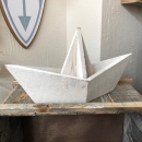 Boot in Faltoptik aus Holz,  weiß groß