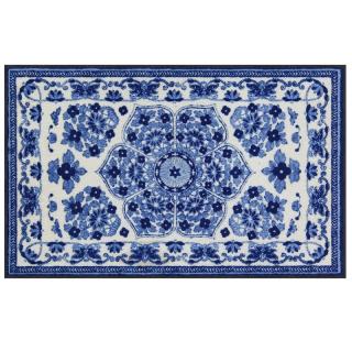 Wohnmatte / Fußmatte Zimra blau-weiß